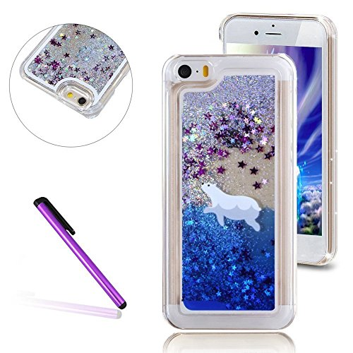 iPhone 5C Hülle,iPhone 5C Case,iPhone 5C Cove,3D Kreativ Muster Transparent Hard Case Cover Hülle Etui für iPhone 5C,EMAXELERS Cute Tier Cat Kaninchen Serie Bling Luxus Shiny Glitzer Treibsand Liquid  Animal Series 82