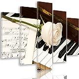 Feeby Frames, Quadro multipannello di 5 pannelli, Quadro su tela, Stampa artistica, Canvas Tipo A, 100x150 cm, MUSICA, STRUMENTI, PIANOFORTE, TASTIERE, NOTI MUSICALI, ROSA, BIANCO