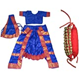 Fancyflight Blue Bharatnatyam+3 Line Ghungroo Classical Dance Costume For Girls Fancy Dress Competitions /Annual Functions/ School Events (10-12 Years)