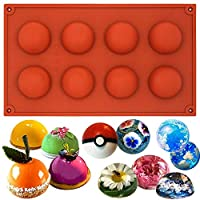 Baker Boutique 8-Cavity Hemisphere Silicone Mold Reusable Non Stick Chocolate Teacake Pans Half Round Dome Baking Tray