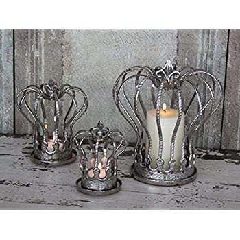 Krone DekoKrone Pokal 30 cm Metall AntikGrau AntikStil Brocante Shabby Landhaus