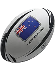 Gilbert Supporter Nueva Zelanda - Balón de rugby, color gris, tamaño 5