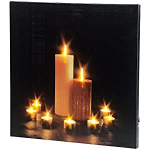 infactory Kerzenbild: Wandbild Kerzenlicht mit flackernder LED-Beleuchtung, 40 x 40 cm (LED Kerzen Wandbilder)