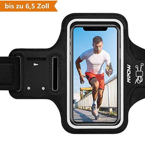 Mpow Sportarmband Handy für iPhone XS Max/XR/ 8 Plus/ 7 Plus Samsung S10 S9 S8【bis zu 6,5 Zoll】, schweißfest SportArmband Mit Reflektivband, Kopfhörer-Slot Key Slot, für Jogging, Radfahren (Iphone Mit 6 Tasche Armband,)