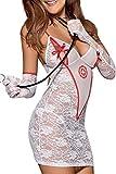 MAX MALL Femmes Sexy Nurse Uniform Dentelle Nuit Lingerie Cosplay Costume Set