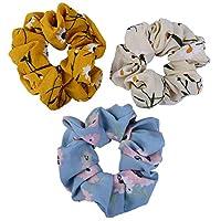 3 Piece Elastics Chiffon Hair Scrunchies Floral Elastic Bands Hair Tie Bobbles Ponytail Holder Hairbands Hair Ties Headband
