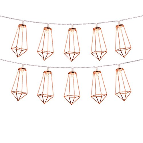 Rose Gold Geometric Boho LED luces de hadas con pilas Metal jaula lint