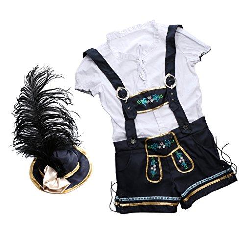 MagiDeal Damen Trachtenhemd & Trachtenhose & Hut Set für Oktoberfest - M