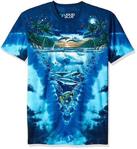 Delfine Erwachsenen T-shirt (Liquid Blue Herren T-Shirt Night Time Dive - Mehrfarbig - X-Groß)