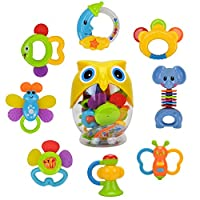 WISHTIME Teether Rattle Set Baby Toy 8 pcs Latest Rattle & Teether Toys for New Born Baby in Owl Bottle