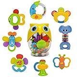 Wishtime 8pcs Bébé Premier Hochet et Jouet de Dentition Anneau avec Bouteille de Hibou idéal Cadeaux pour Les Bébés