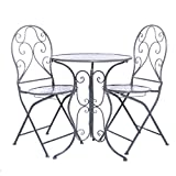 Set tavolo e 2 sedie, in ferro