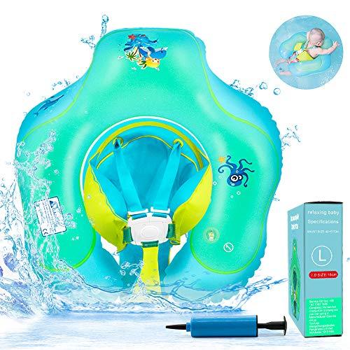 HUIYEA Flotador de Natación para Bebés, Anillo de Natación Bebé Juguetes de Piscina Niños Natación Anillo Cintura Flotadores inflables Entre 6 Meses-3 Años para Bebé (Verde - L)