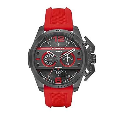 Diesel SBA - Reloj de cuarzo con la correa de plástico para hombre, color negro / rojo