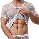 iEFiEL Herren Top T-Shirt Kurzarm Netzhemd Unterhemd Erotik Guywear Dessous Transparent (M, Weiß)
