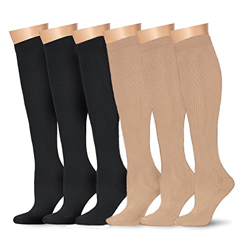 6Paar Kompressionsstrümpfe für Damen und Herren (15–20mmHg)-Ideal für medizinische, Durchblutung und Wiederherstellung, Stillen, Reisen & Flight Socken–Laufen & Fitness