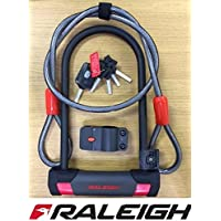 Raleigh Bike U Lock 115mm x 230mm & 120cm Cable - 5 Keys ! - High Security - Pick, Pull, Drill Resistant