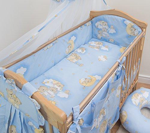 5-teiliges Baby Bettwäsche Set 140x70cm 4-seitig Kinderbett Schutz - Muster 4
