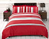 Detroit Red Grey White Striped Duvet Cover Quilt Bedding Set, Single Bed Size