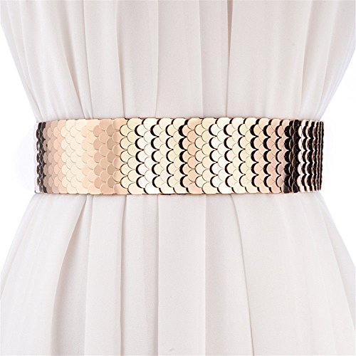 SAIBANGZI - Cinturón de Cintura para Mujer con cinturón Ancho, para Vestido de Personalidad metálica, cinturón elástico para niña, Mujer, Dorado, 70 cm