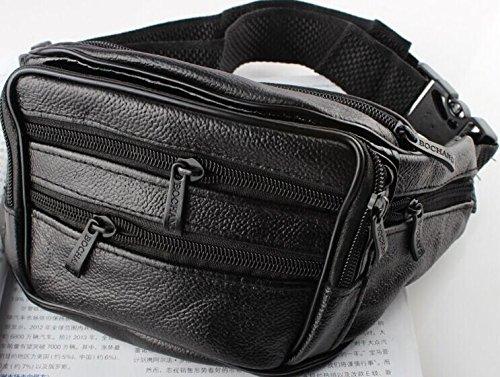 ZYT Erste Schicht Leder Schulter Leder Geldbörsen geschleudert eine Multifunktions-Taschen für Männer Black