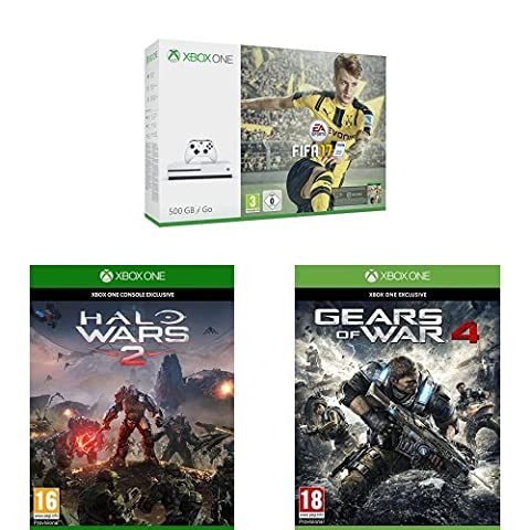 Pack Console Xbox One S 500 Go + Fifa 17 + Halo Wars 2 + Gears of War 4