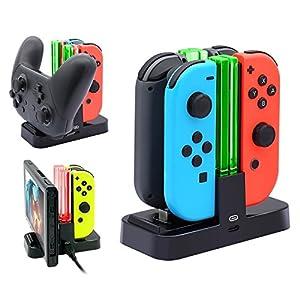 EEEKit 4 in 1 Joy-Con Ladestation/Ladegerät für Nintendo Switch Controller, Typ C Kabel, mit LED-Anzeige