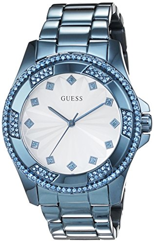 Guess (GVSS5) Women's Quartz Watch with White Dial Analogue Display and Blue Stainless Steel Bracelet W0702L1