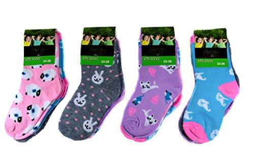 12 Paar Ladies Socks Mädchen Socken Kinder Strümpfe 90% Baumwolle A.S-100 Gr. 23-38 Verschiedene Farben und Motive (23-26)