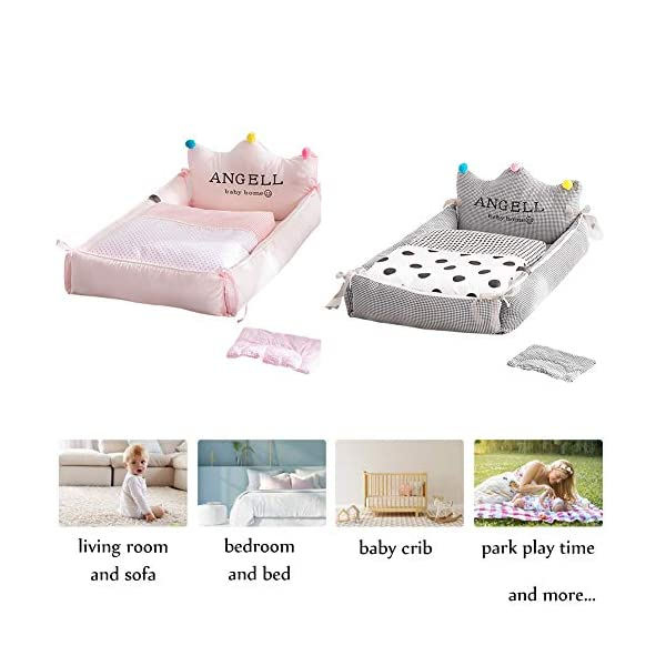 YUELAI Baby Nest Bed Portable Washable And Removable Baby Sleep Nest For Newborn And Babies, Multifunction Breathable Baby Sleep Bag Comfortable + Pillow + Quilt Pack (0-24 Months) gray YUELAI 【Material】The place where the baby can touch is 100% cotton. Soft, breathable and delicate fabric to protect your baby's sensitive skin, allowing your baby to fall asleep faster 【Dimensions】88cm x 56cm x20cm (34.6 inch x 22 inch x 7.8 inch ), suitable for newborns of 0-1 years, the comfortable space makes the baby not feel crowded 【Portable】A folding sleeping basket saves space. It is very light and suitable for outdoor use, and it can also free your hands.Lets you easily observe the baby, increase the baby and your sleep quality 6