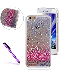 Funda para iPhone 7 Plus,Carcasas para iPhone 7 Plus,EMAXELERS Funda Piel para iPhone 7 Plus,iPhone 7 Plus Lujo Caso,Funda Cuero para iPhone 7 Plus 3D Caso Funda Cute patrón Fluyendo líquido Flotando Bling Glitter Sparkle Transparente Duro PC protección Cubrir Back Cover para iPhone 7 Plus,Carcasas iPhone 7 Plus 5.5 inch (2016),Silver Liquid-Pink Hearts