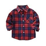 De feuilles Chic-Chic Chemise Carreaux Manche Longue Bébé Fille Garçon Enfants Haut T-Shirt Chemisier Classics Chemise Sweat Shirt Rouge Bleu 13-14ans