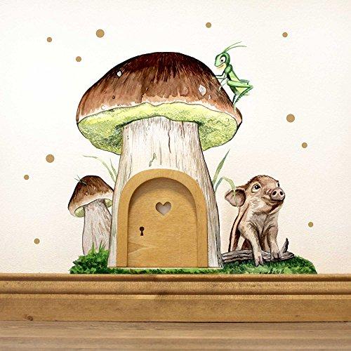 ilka parey wandtattoo-welt® Elfentür Feentür Wichteltür mit Wandtattoo Wandsticker Pilzhaus mit Schweinchen Punkten und Sternen e09 - ausgewählte Farbe der Holztür: *weiß*