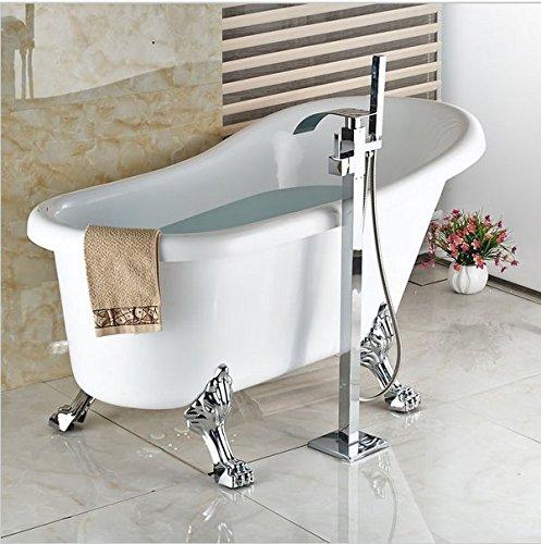 Preisvergleich Produktbild GOWE Auf dem Boden montierte Wasserfall-Badewanne mit Wasserhahn, Handbrause, Badewanne, Armatur, Freistehend