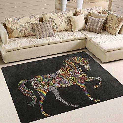 Naanle Regenbogen-Blumen-/Paisley-Pferd-Teppich, Rutschfest, für Wohnzimmer, Esszimmer, Schlafzimmer, Küche, 50 x 80 cm, Multi, 120 x 160 cm(4' x 5')