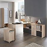 Büromöbel Set mit Eckschreibtisch, Rollcontainer und Jalousieschrank