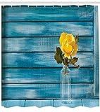 ABAKUHAUS Rosa Tenda da Doccia, Rosa Gialla di Fioritura İn Un Barattolo, Stampa Personalızzato, 175 x 200 cm, Verde Oliva Blu Petrolio Giallo Oliva