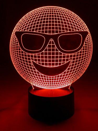 Originale lampe de table lampe LED Smiley Emoji 3D avec 7 couleurs lumineux