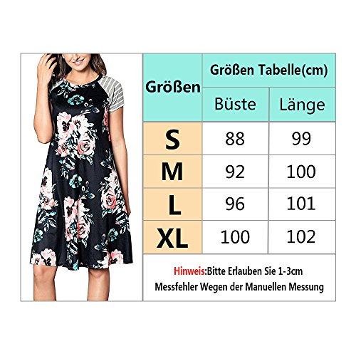 Zaywind Damen Blumen A-Linie Sommerkleider Casual Knielang MaxiKleider Abendkleid Strandkleid Schwarz