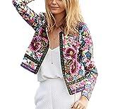 Simple-Fashion Primavera y Otoño Mujeres Chaquetas Casual Bohemo Nacional Estilo Impresión Ropa de Abrigo Coat Outwear Joven Moda Manga Larga Cazadora Cárdigans Corto Jacket Tops