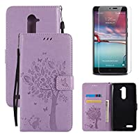 for ZTE Zmax Pro / Carry Z981 Flip Case and Screen Protector ,OYIME [Purple Cute Cat and Butterfly Tree] Design Leather Kickstand Magnetic Holster with Card Holder Full Body Protective Wallet Cover