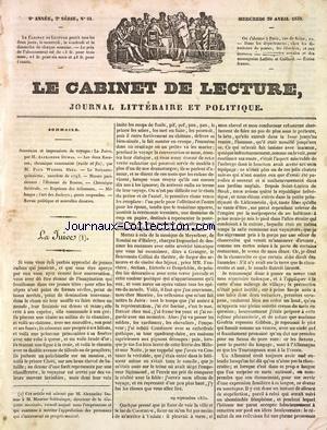 CABINET DE LECTURE (LE) [No 51] du 29/04/1835