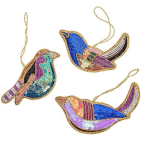 Store Indya, Set di 3 uccelli Decorazioni di Natale con motivi di Natale per la decorazione domestica, Muro Albero Hanging e regalo Decorazioni di Natale