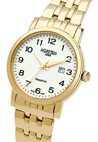 Roamer Classic Line Women's Quartz Watch with White Dial Analogue Display and Gold Stainless Steel Bracelet 709844 48 26 70