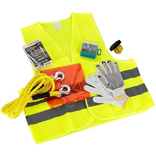 Dunlop KFZ Notfall Set 40-Teilig | Abschleppseil 3000KG | Warnweste Nach EN ISO 20471 |Lampenersatz 8-Teilig | Sicherungen Set 26-Teilig | Handschuhe | Universal Notfalltankdeckel