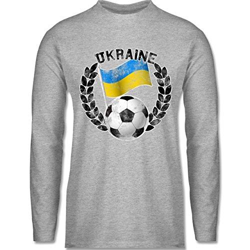EM 2016 - Frankreich - Ukraine Flagge & Fußball Vintage - Longsleeve / langärmeliges T-Shirt für Herren Grau Meliert