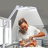 24W Lampe Loupe LED d'Atelier Esthetique à Pince sur Table Agrandissement 5X Bras Pliable pour Salon de Beauté, Cliniques, Cabinet Médicale