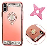 MAOOY iPhone X Spiegel Hülle, Rose Gold Plating Silikon Schutzhülle mit Ständer Ring Holder für iPhone X, Luxus Glänzend Glitzer Strass Handyhülle Silikon Weich Fall für iPhone X, Roségold
