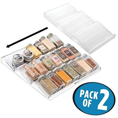 Mdesign set da 2 expandable spice rack organizer for kitchen drawer - clear by metrodecor