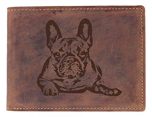 Greenburry Geldbörse mit Hunde Motiv Französische Bulldogge (Leder Geldbörse Französisch)